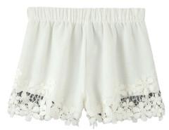 White Hook Flower Lace Hem Shorts Choies.com online fashion store United Kingdom Europe