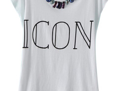 White ICON And Gemstone Short Sleeve T-shirt Choies.com online fashion store United Kingdom Europe
