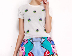 White Knit T-shirt With Cartoon Snake Print Full Skirt Choies.com online fashion store United Kingdom Europe