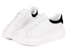 White Lace Up Contrast Branded Platform Trainers Choies.com online fashion store United Kingdom Europe
