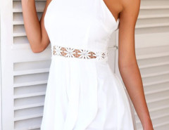 White Lace Waist Backless Romper Playsuit Choies.com online fashion store United Kingdom Europe