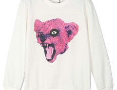 White Leopard Head Print Long Sleeve Sweatshirt Choies.com online fashion store United Kingdom Europe