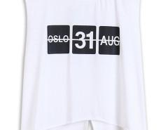 White Letter Print Asymmetric Hem Back Slit Sleeveless Vest Choies.com online fashion store United Kingdom Europe