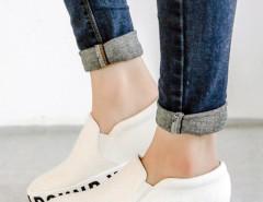White Letter Print Flatform Plimsolls Choies.com online fashion store United Kingdom Europe