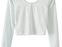 White Long Sleeve Tight Cropped T-shirt Choies.com online fashion store United Kingdom Europe