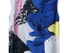 White Mesh Scrawl Print Sleeveless T-shirt Choies.com online fashion store United Kingdom Europe