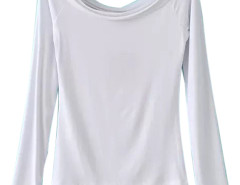 White Off Shoulder Tight Long Sleeve T-shirt Choies.com online fashion store United Kingdom Europe