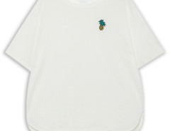 White Pineapple Embroidery Split Side T-shirt Choies.com online fashion store United Kingdom Europe