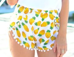 White Pineapple Print Elastic Waist Pom Pom Shorts Choies.com online fashion store United Kingdom Europe