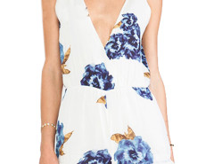 White Plunge Neck Sleeveless Floral Romper Playsuit Choies.com online fashion store United Kingdom Europe