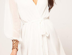 White Sequined Cuff Tie Waist Two-layer Wrap Dress Choies.com online fashion store United Kingdom Europe