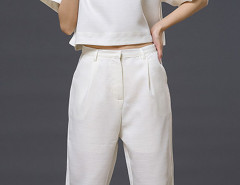 White Short Sleeve Loose T-shirt With Cropped Pants Choies.com online fashion store United Kingdom Europe