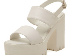 White Strap Buckle Clasp Platform Heeled Sandals Choies.com online fashion store United Kingdom Europe