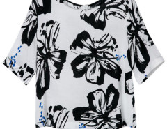 White T-shirt With Black Floral Choies.com online fashion store United Kingdom Europe