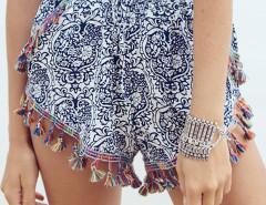 White Tile Print Fringe Tassel Hem Shorts Choies.com online fashion store United Kingdom Europe
