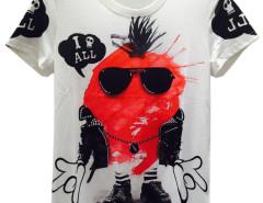 White Unisex Sunglasses Cartoon Skull And Letter Print T-shirt Choies.com online fashion store United Kingdom Europe