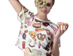 White Yummy Food Print Short Sleeve T-Shirt Choies.com online fashion store United Kingdom Europe