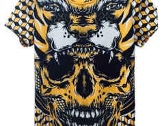 Yellow 3D Unisex Geometric Howling Tiger And Skull Print T-shirt Choies.com online fashion store United Kingdom Europe
