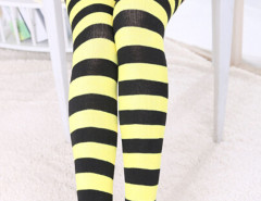 Yellow And Black Stripe Print Over the Knee Socks Choies.com online fashion store United Kingdom Europe