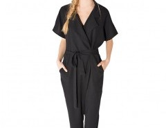 Pure Color V-neck Jumpsuit Chicnova online fashion store China