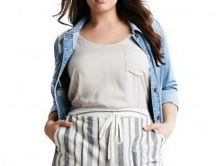 Plus Size Striped Shorts with Pockets Chicnova online fashion store China
