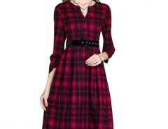 V-neck Dress in Plaid Chicnova online fashion store China