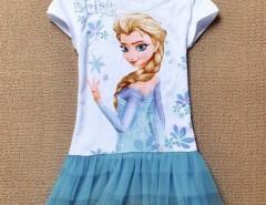 New Fashion Princess Queen ELSA Girls Tulle Ruffle T-shirt Tops Dress Cndirect online fashion store China