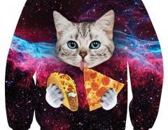 Crew Neck Cat Print Sweatshirt Chicnova online fashion store China