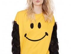 Tassel Sweatshirt with Smiley Print Chicnova online fashion store China