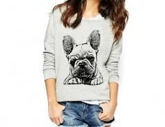 Sweatshirt with Bulldog Print Chicnova online fashion store China