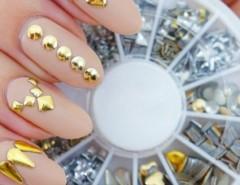 120Pcs Fashion Metal Nail Art Decoration Rhinestone Tips Metallic Studs Gold Silver Cndirect online fashion store China