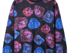 3D Unisex Diamond Print Sweatshirt in Black Choies.com online fashion store USA