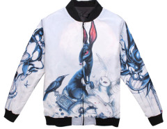 White Unisex Padded Bomber Coat With Abstract Rabbit Print Choies.com online fashion store USA