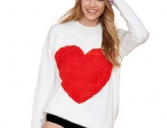 Mohair Sweater with Heart Shape Chicnova online fashion store China