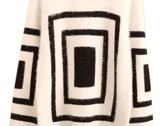 Men's White Geometric Pattern Long Sleeve Sweater Choies.com online fashion store USA