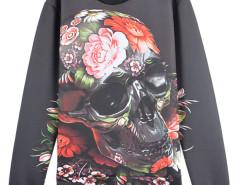 3D Floral Skull Digital Print Unisex Sweatshirt Choies.com online fashion store USA