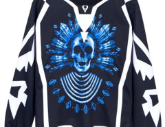 Men's Blue Skull Print Sweatshirt Choies.com online fashion store USA