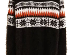 Men's Black Snowflake Pattern Fluffy Sweater Choies.com online fashion store USA