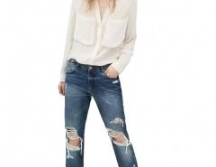 Straight Jeans with Rips Chicnova online fashion store China