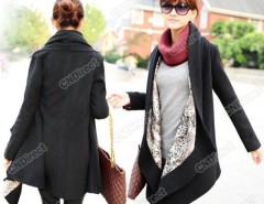 2016 Trends Fashion Korea Grace Women's Woolen Winter Coat Long Cape Clock Jacket Black HD23 Cndirect online fashion store China