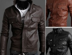 2016 Trends Men's Slim Stylish Synthetic Leather Fit Zip Casual Coat Jackets Cndirect online fashion store China