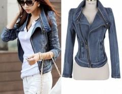 2016 Trends Women's Punk Lapel Zipper Denim Jean Coat Blazer Jacket Biker Outerwear Cndirect online fashion store China