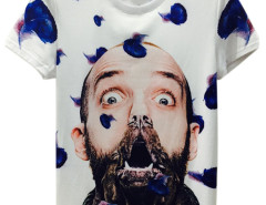 White 3D Unisex Man with Dog Mouth Print T-shirt Choies.com online fashion store USA