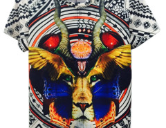 Multicolor 3D Unisex Geometric And Lion Print T-shirt Choies.com online fashion store USA