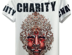 White 3D Unisex CHARITY And Man Face Print T-shirt Choies.com online fashion store USA