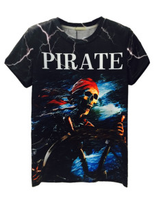 Black 3D Unisex Lightning And Skull PIRATE Print T-shirt Choies.com online fashion store USA