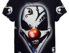 Black 3D Unisex Evil Clown Print T-shirt Choies.com online fashion store USA
