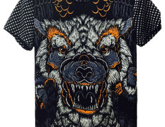 Black 3D Unisex Geometric And Wolf print T-shirt Choies.com online fashion store USA