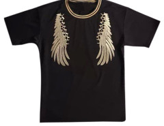 Black Men's Embroidery Wing Short Sleeve T-shirt Choies.com online fashion store USA