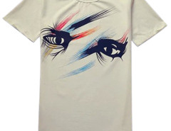 White Unisex Eye Print Short Sleeve T-shirt Choies.com online fashion store USA